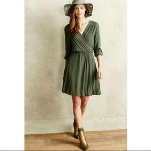 Anthropologie Maeve Army Green Wrap Dress Pockets